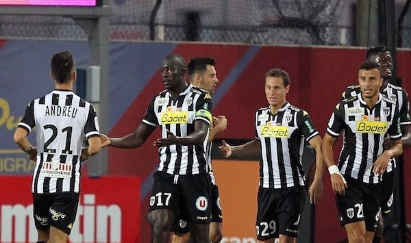 Cheikh N'Doyle congratulated by his team-mates after scoring for Angers.