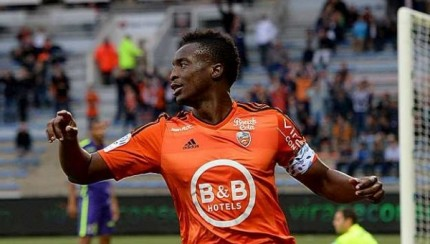 Benjamin Moukandjo in action in Lorient's 2-0 win against Caen.