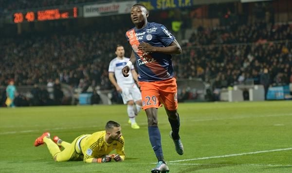 Casimir Ninga jogs away after scoring against Lyon.