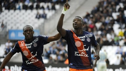 Casimir Ninga celebrates after scoring against Lyon.