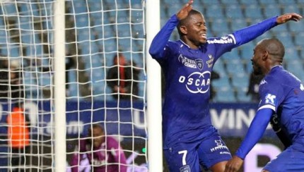 Floyd Ayite  celebrates scoring against Troyes.